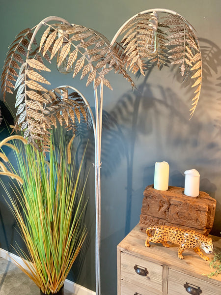 Antique Silver Palm Leaf Floor Lamp Olive And Sage