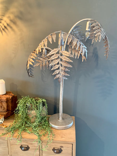 Silver Palm Leaf Floor Lamp