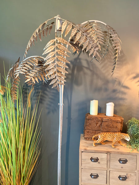 Silver Palm Leaf Table Lamp