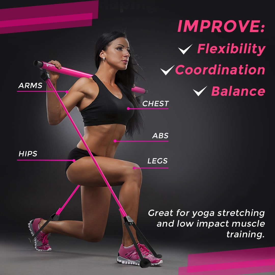 Pilates Exercise Bar with Resistance Band