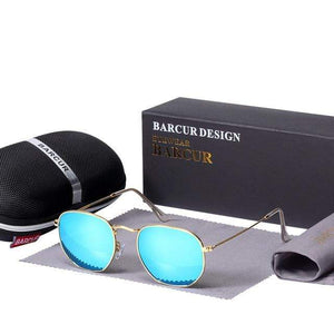 Assic.Myshop glasses Gold Blue Anti reflection barcur Polarized u-v [sunglasses] 21411902-gold-blue
