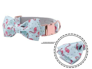 Assic.Myshop Pet care collar and bow / XS Unique Style Paws Dog or Cat Collar or Leash Set Pink Flamingo with Pure Cotton Bows for Pets 27129097-collar-and-bow-xs