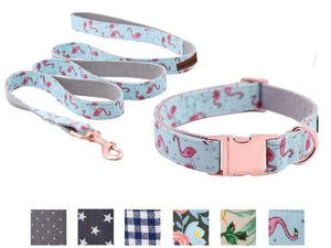 Assic.Myshop Pet care collar and leash / XS Unique Style Paws Dog or Cat Collar or Leash Set Pink Flamingo with Pure Cotton Bows for Pets 27129097-collar-and-leash-xs