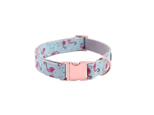 Assic.Myshop Pet care collar / XS Unique Style Paws Dog or Cat Collar or Leash Set Pink Flamingo with Pure Cotton Bows for Pets 27129097-collar-xs