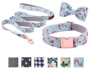 Assic.Myshop Pet care collarbowleash / XS Unique Style Paws Dog or Cat Collar or Leash Set Pink Flamingo with Pure Cotton Bows for Pets 27129097-collarbowleash-xs