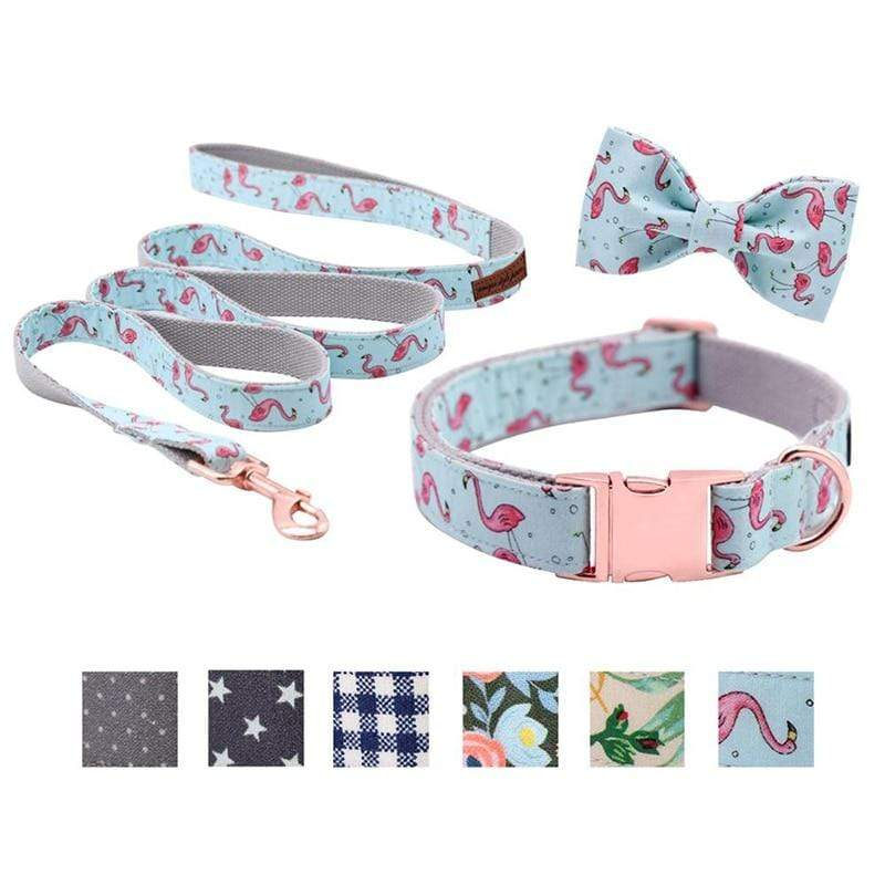 Assic.Myshop Pet care Unique Style Paws Dog or Cat Collar or Leash Set Pink Flamingo with Pure Cotton Bows for Pets