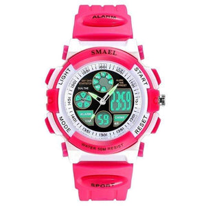 Assic.Myshop Watches Pink Dual Time Outdoor Quality [watches] smael LCD digital 6749220-pink-dual-time