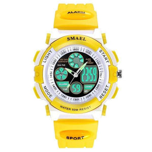 Assic.Myshop Watches Yellow Dual Time Outdoor Quality [watches] smael LCD digital 6749220-yellow-dual-time