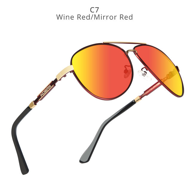 KDEAM Polarized Sunglasses Men/Women Pilot-wine red-mirror-red