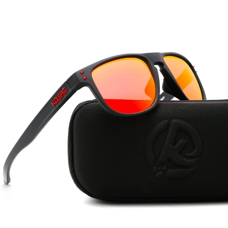 KDEAM HD TR90  Polarized Sunglasses-fire orange
