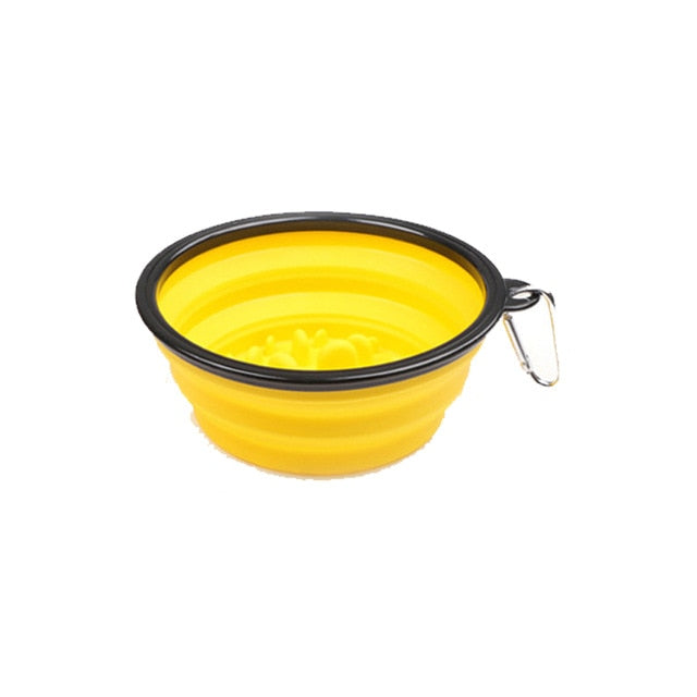 Pet Slow Feeder Bowl 2in1 Water Food-Yellow