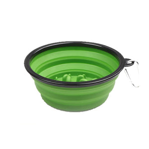 Pet Slow Feeder Bowl 2in1 Water Food-Light Green