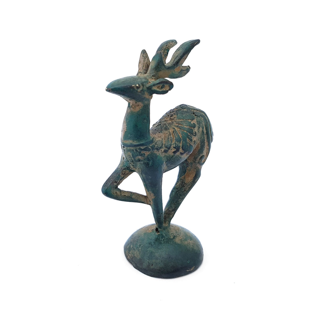 Statue brass mini deer green