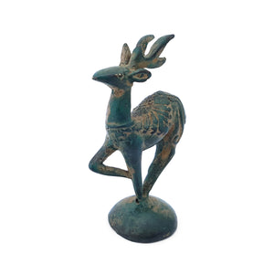 Load image into Gallery viewer, Statue brass mini deer green
