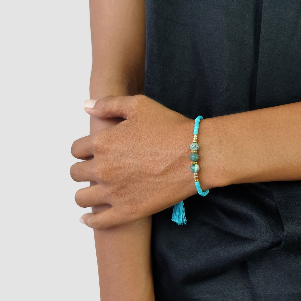 Load image into Gallery viewer, Lucky gemstone bracelet turquoise tassel on model