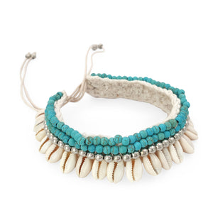 Load image into Gallery viewer, Crochet boho anklet shell turquoise howlite and silver plated beads