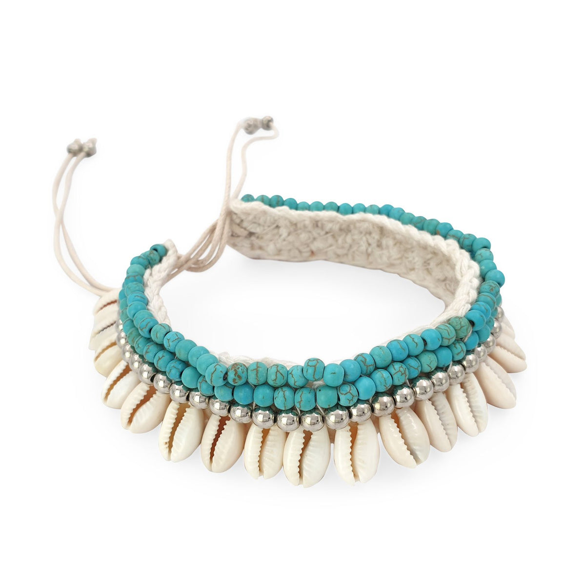 Crochet boho anklet shell turquoise howlite and silver plated beads