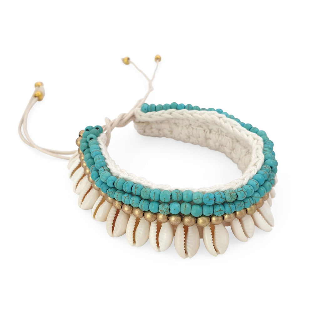 Load image into Gallery viewer, Crochet boho anklet shell turquoise howlite and gold plated beads