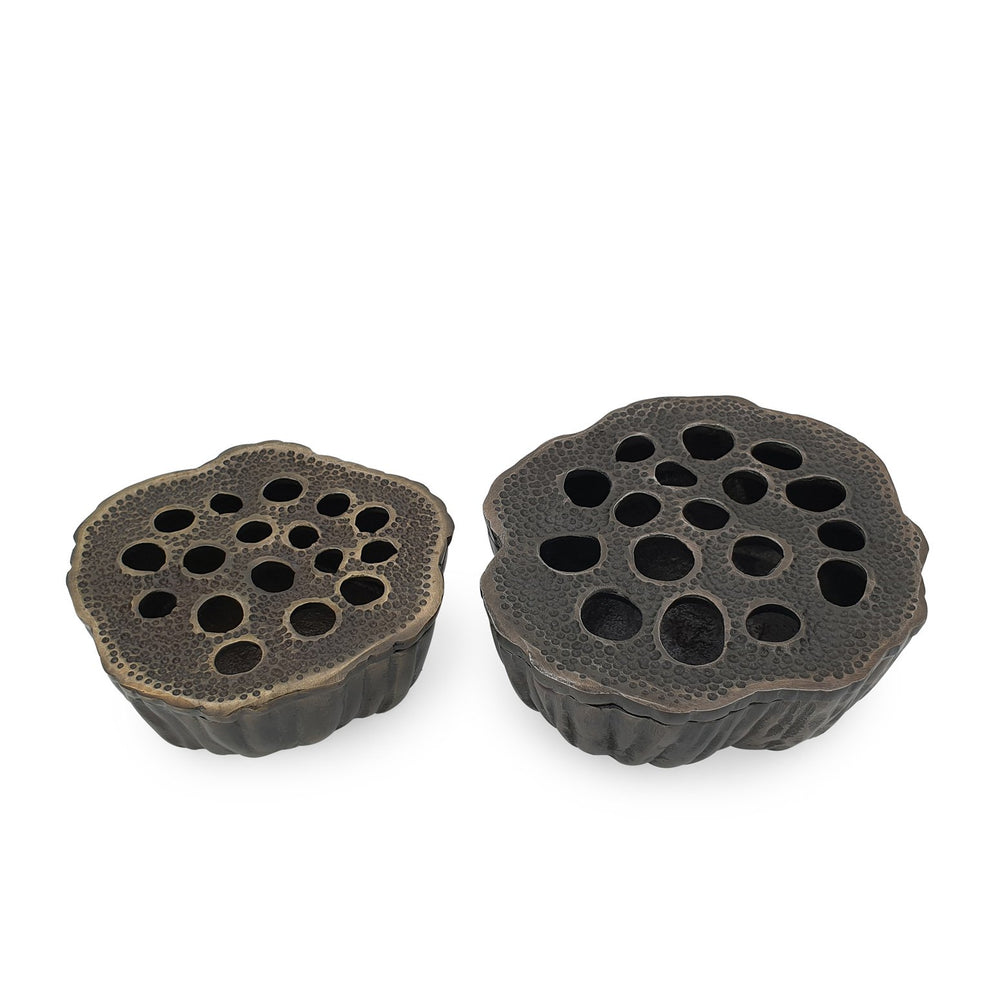 Lotus seeds aluminium ashtray black set