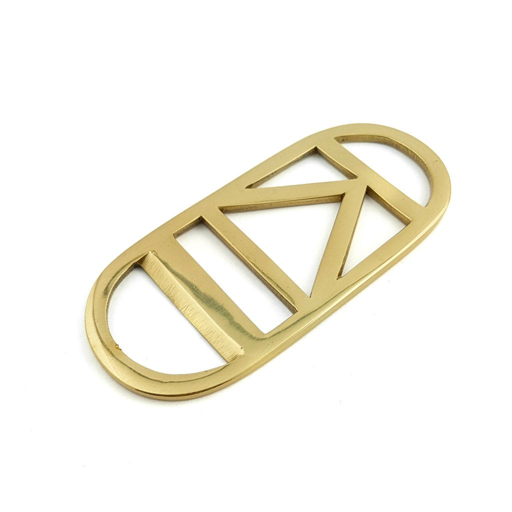 Bottle Opener Brass Gold Triangle Stripe