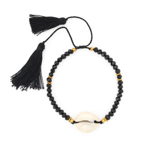Load image into Gallery viewer, Bracelet Boho Crystal Shell black