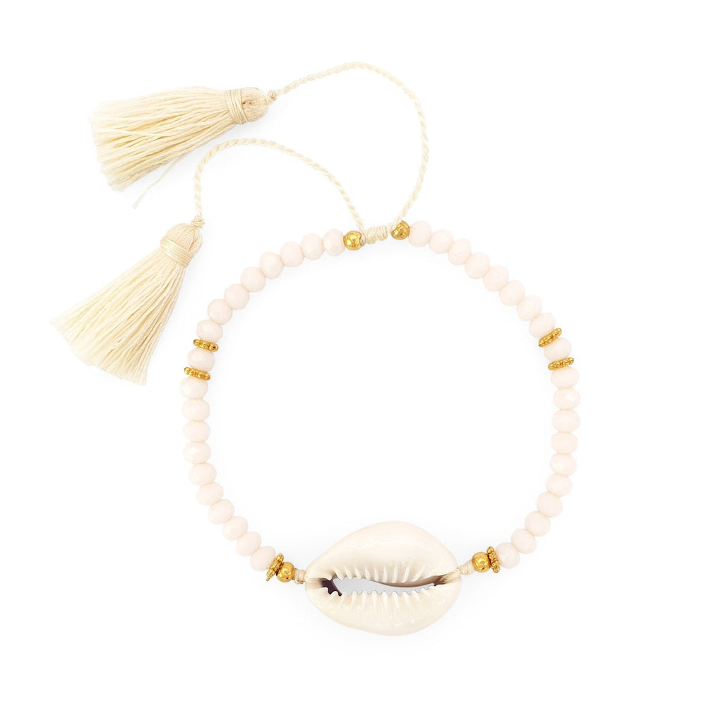 Bracelet Boho Crystal Shell cream
