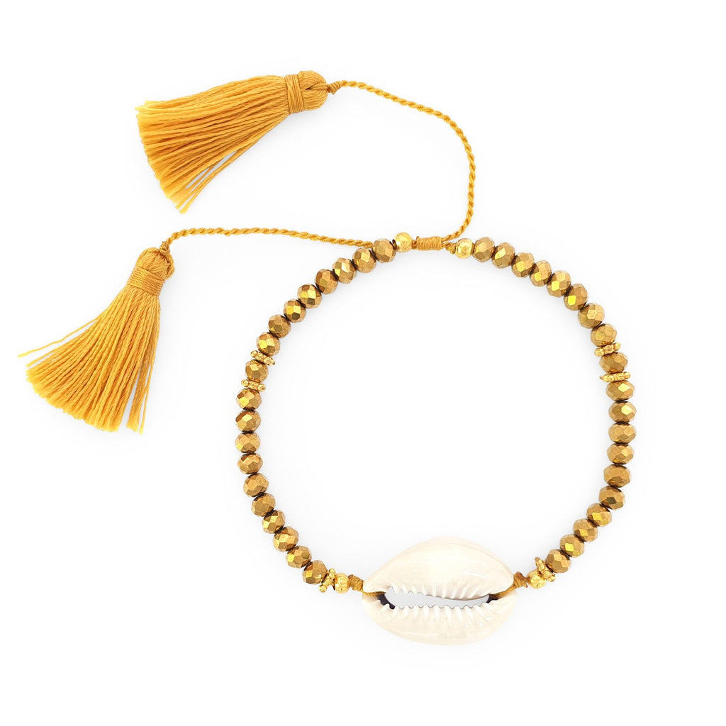 Bracelet Boho Crystal Shell gold