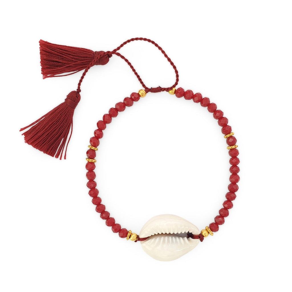 Bracelet Boho Crystal Shell red