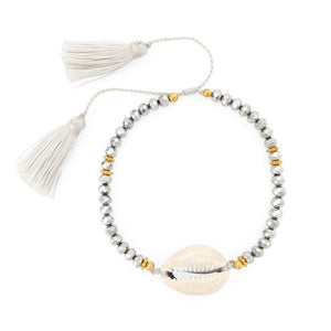 Load image into Gallery viewer, Bracelet Boho Crystal Shell silver