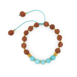 Load image into Gallery viewer, Bracelet Prayer rudraksha gemstone aqua agate top view