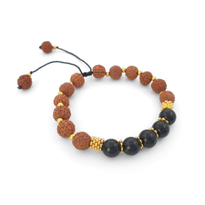 Load image into Gallery viewer, Bracelet Prayer rudraksha gemstone black onyx side view