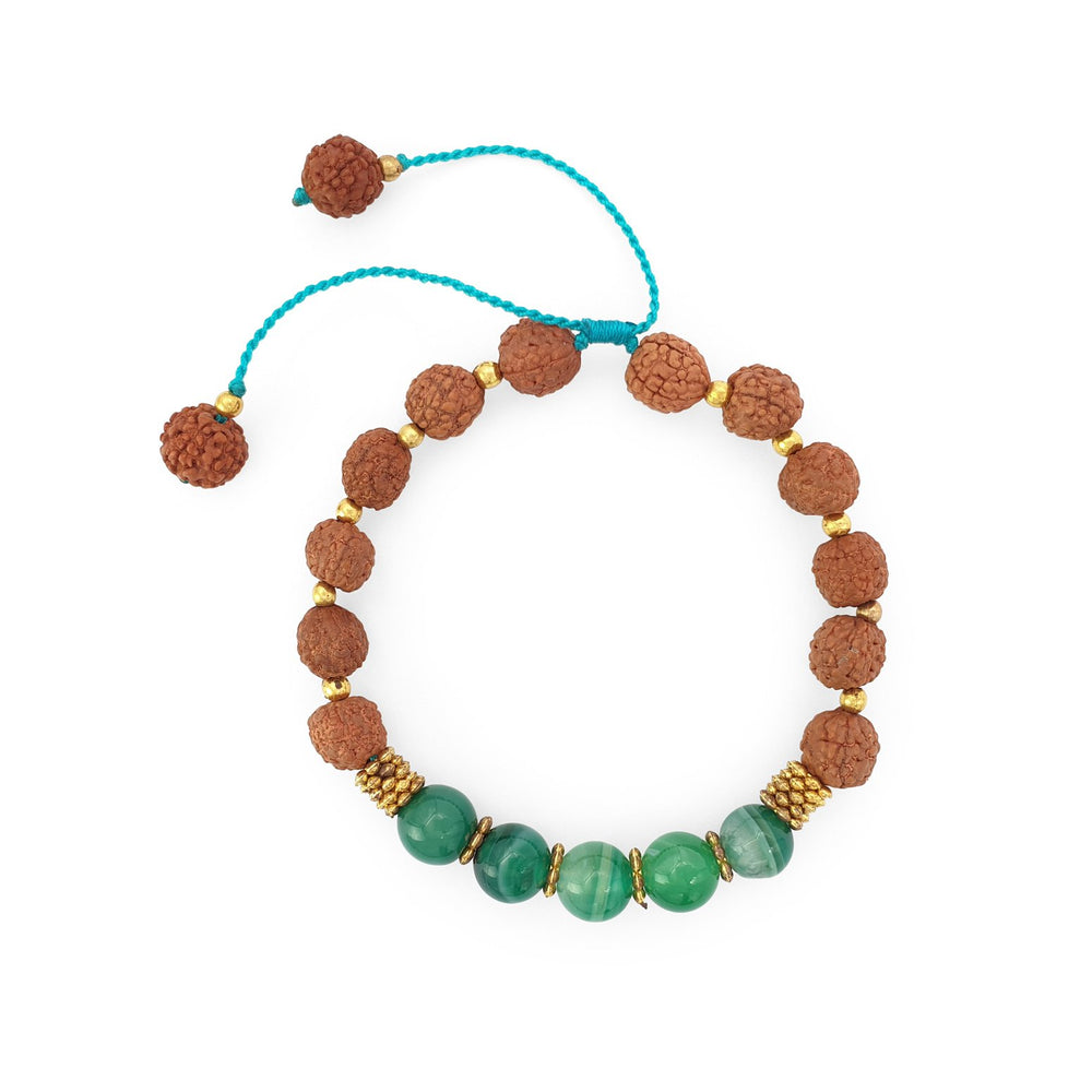 Load image into Gallery viewer, Bracelet Prayer rudraksha gemstone green malachite top view