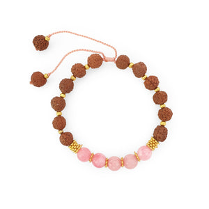 Load image into Gallery viewer, Bracelet Prayer rudraksha gemstone light pink agate top view