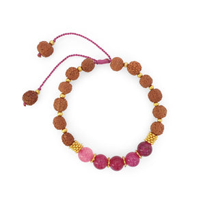 Load image into Gallery viewer, Bracelet Prayer rudraksha gemstone pink agate top view