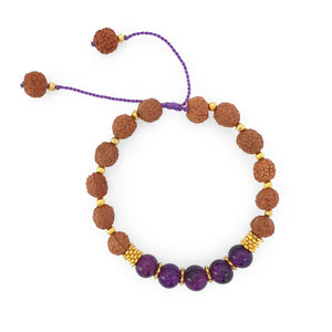 Load image into Gallery viewer, Bracelet Prayer rudraksha gemstone purple agate top view