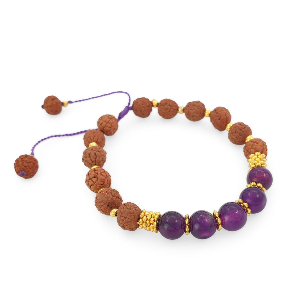 Bracelet Prayer rudraksha gemstone purple agate side view