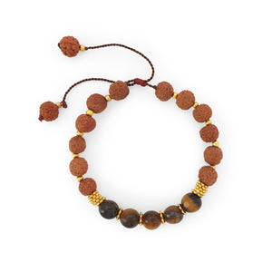 Load image into Gallery viewer, Bracelet Prayer rudraksha gemstone tiger eye top view
