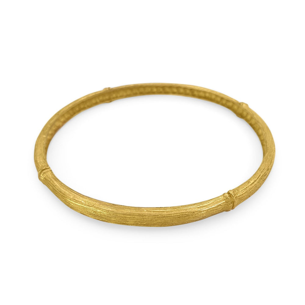 Handmade brass boho bamboo bangle gold color side view