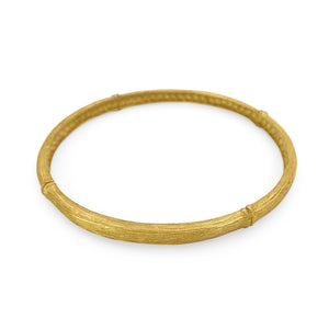 Load image into Gallery viewer, Handmade brass boho bamboo bangle gold color side view