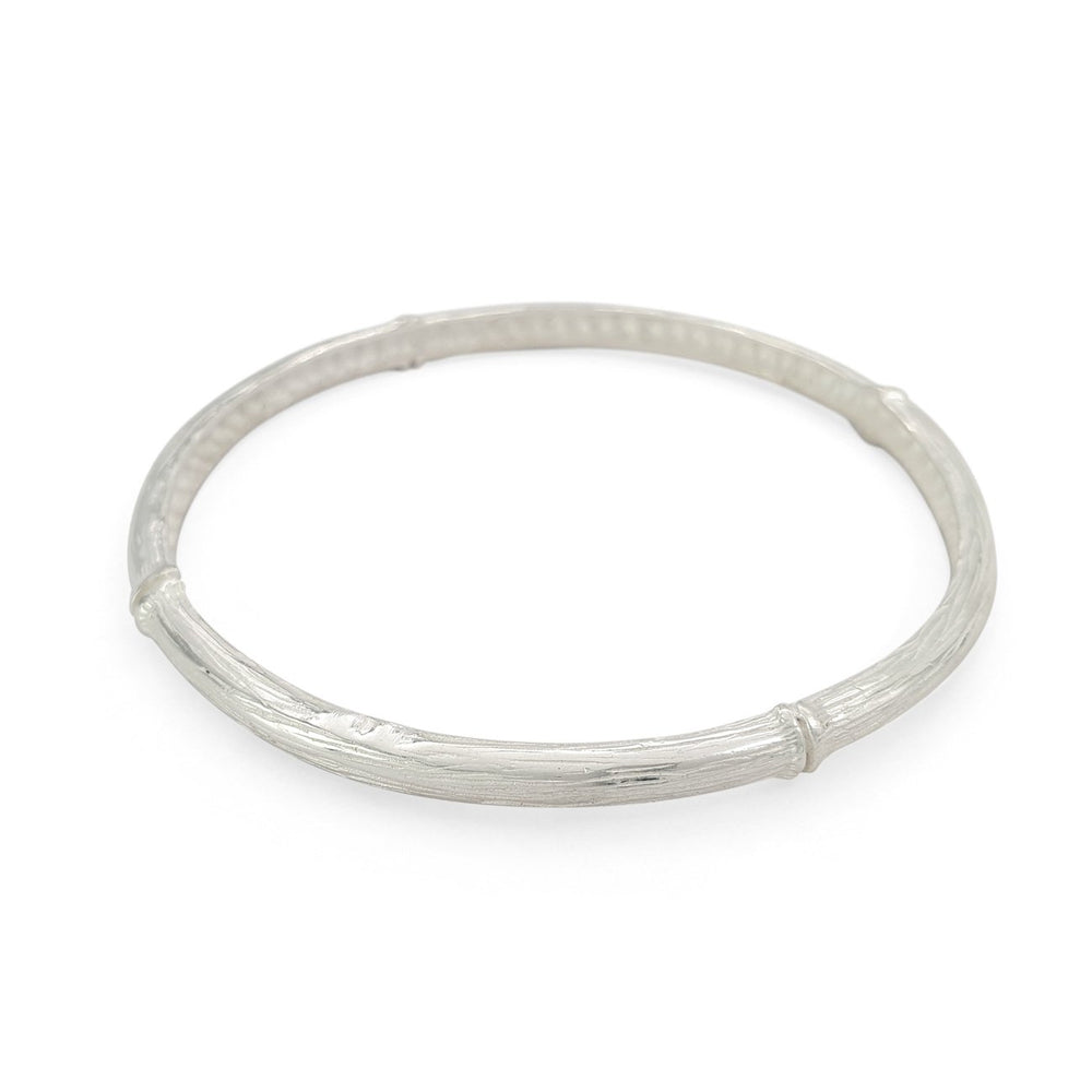 Load image into Gallery viewer, Handmade brass boho bamboo bangle silver color side view