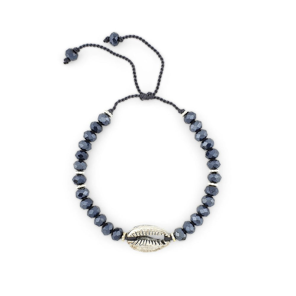 Load image into Gallery viewer, Bracelet with blue crystals and silver brass shell