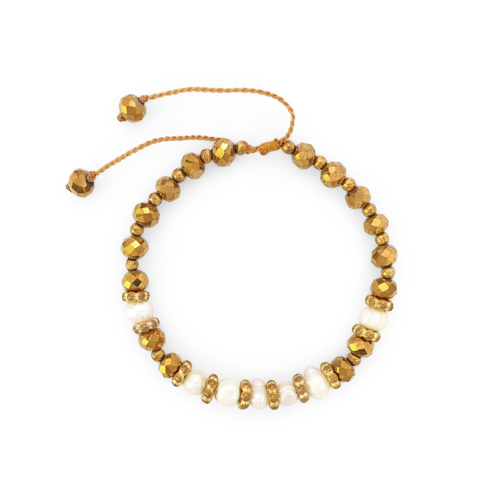 Load image into Gallery viewer, Handmade pearl boho bracelet gold crystals