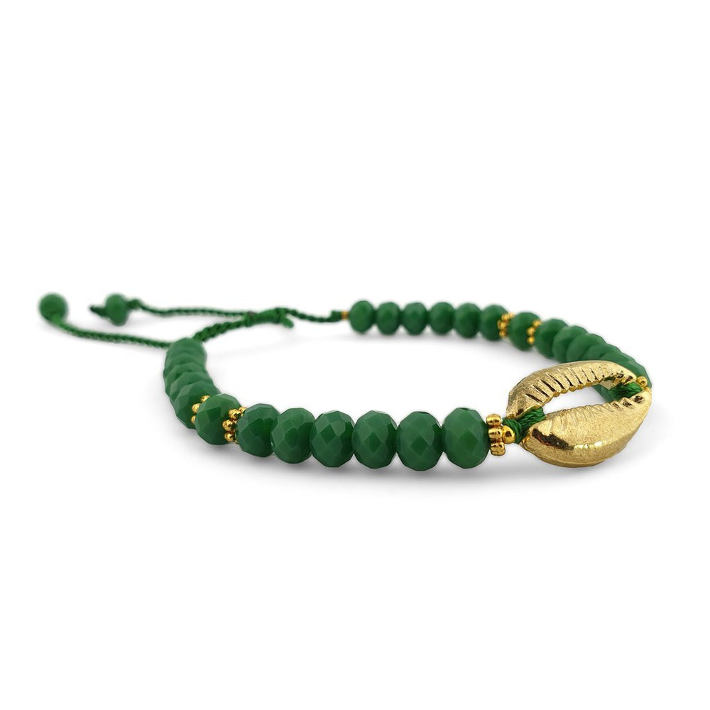 Bracelet with green crystals and gold brass shell side view