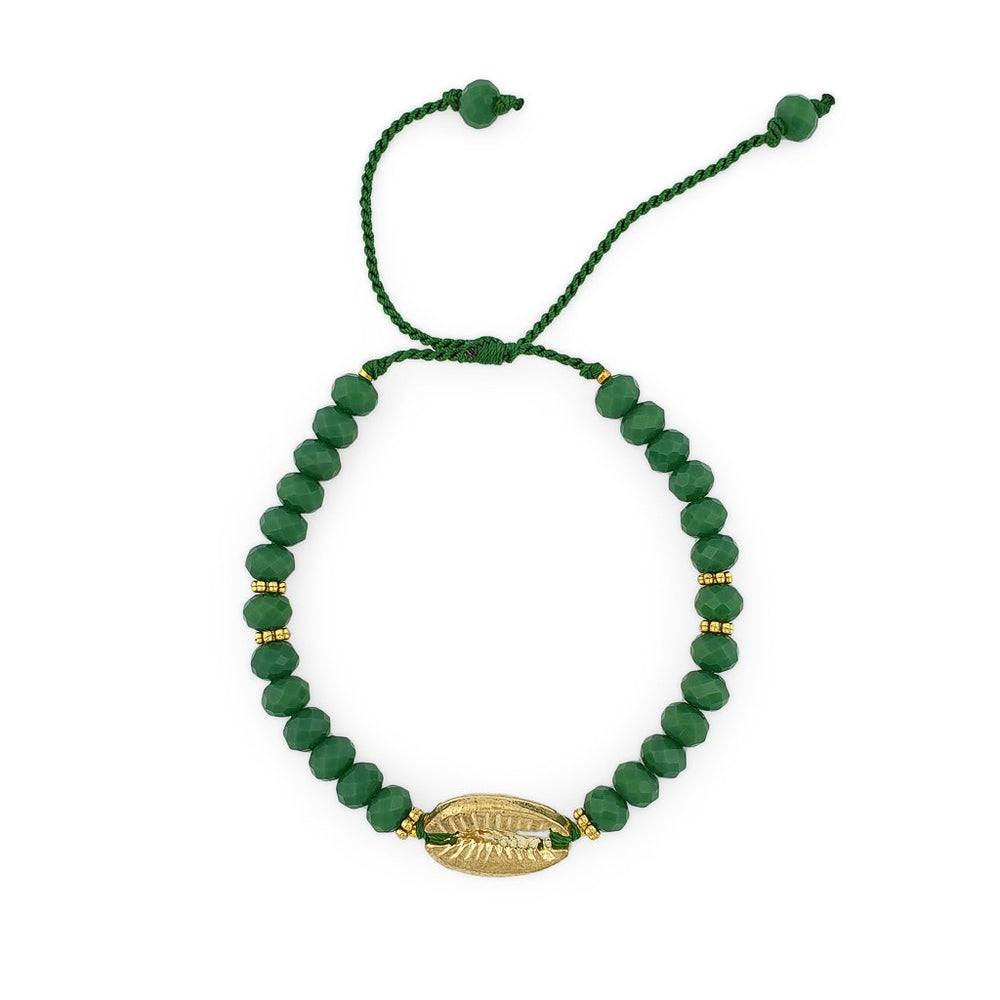 Load image into Gallery viewer, Bracelet with dark green crystals and gold brass shell