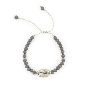 Load image into Gallery viewer, Bracelet with grey crystals and silver brass shell