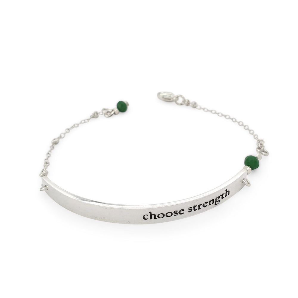 Load image into Gallery viewer, Brass handmade silver plated quote Bracelet choose strength