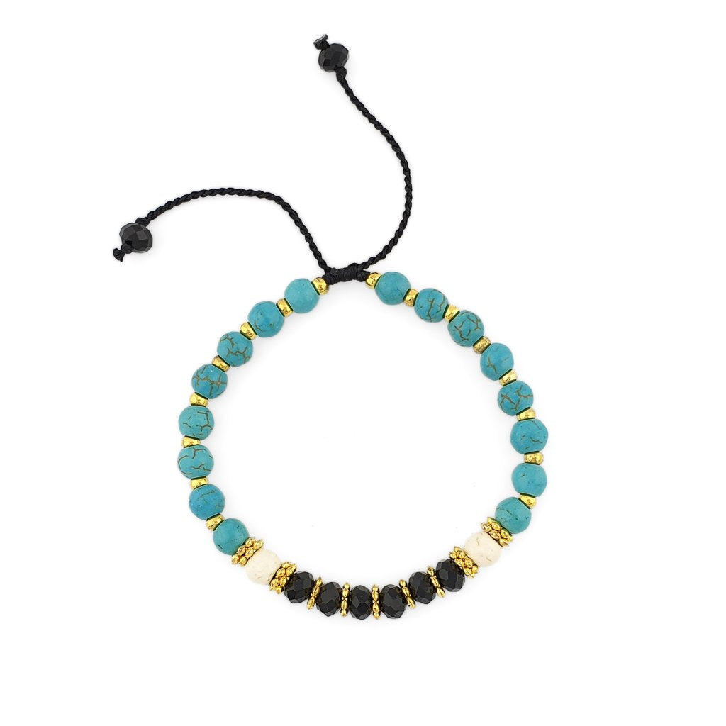Turquoise Bracelet with gold beads and black crystals