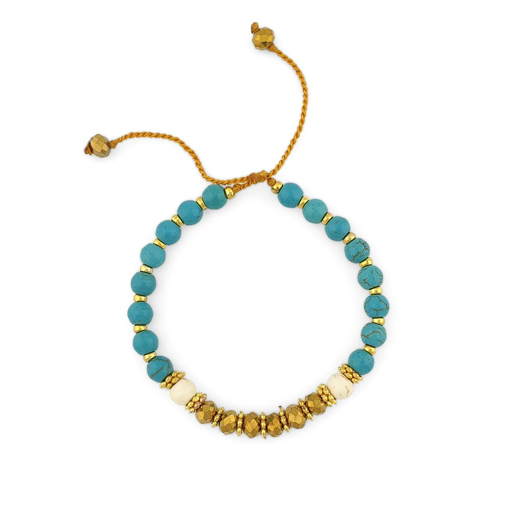 Turquoise Bracelet with gold beads and gold crystals