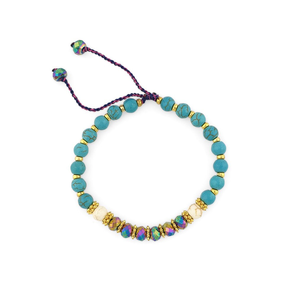 Turquoise Bracelet with gold beads and mix color crystals