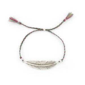 Load image into Gallery viewer, Bracelet Feather Tassel Silver Plated
